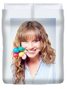 Fun Party Girl With Balloons In Mouth Duvet Cover