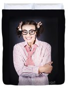Funny Female Business Nerd With Big Geeky Smile Duvet Cover