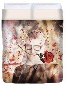 Funny Valentine Nerd Caught In Net Of Romance  Duvet Cover