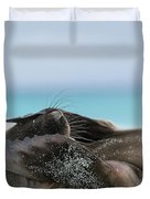 Galapagos Sea Lion Pup Covering Face Duvet Cover