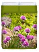 Garlic Chives Flowers Duvet Cover
