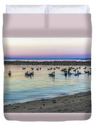 Geese At Dusk Duvet Cover