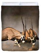 Gemsbok Fight Duvet Cover by Johan Swanepoel