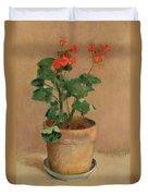 Geraniums In A Pot Duvet Cover
