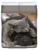German Shepherd And Chartreux Kitten Duvet Cover