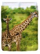 Mom Giraffe And Little Joey Duvet Cover