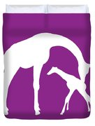 Giraffe In Purple And White Duvet Cover