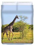Giraffe On Savanna. Safari In Serengeti Duvet Cover