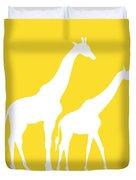 Giraffes In Golden And White Duvet Cover