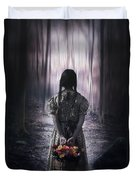 Girl In The Woods Duvet Cover