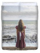 Girl On Beach Duvet Cover