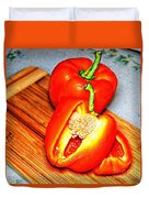 Glowing Peppers With Texture Duvet Cover