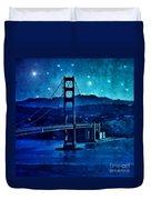 Golden Gate Bridge Night Duvet Cover