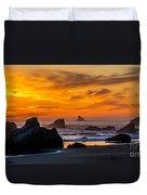 Golden Harris Beach Sunset - Oregon Duvet Cover