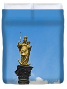 Golden Statue Of The Virgin Mary In Munich Germany Duvet Cover