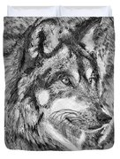 Gray Wolf Watches And Waits Duvet Cover