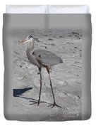 Great Blue Heron On The Beach Duvet Cover