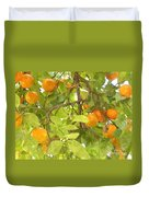 Green Leaves And Mature Oranges On The Tree Duvet Cover