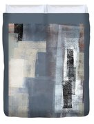 Blocked - Grey And Beige Abstract Art Painting Duvet Cover