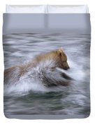 Grizzly Bear Chasing Fish Duvet Cover