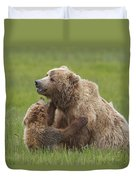 Grizzly Bear Playing With Cub Lake Duvet Cover
