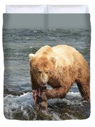 Grizzly Bear Salmon Fishing Duvet Cover