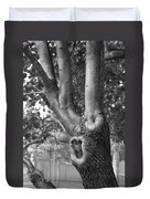 Growth On The Survivor Tree In Black And White Duvet Cover