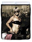 Grunge Babe On Holidays Duvet Cover