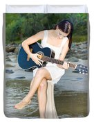 Guitar Woman Duvet Cover