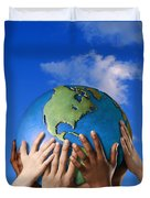 Hands On A Globe Duvet Cover