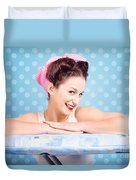 Happy 60s Pinup Housewife On Blue Ironing Board Duvet Cover