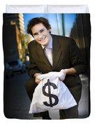 Happy Business Man Smiling With Money Bag Duvet Cover