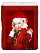 Happy Dj Christmas Girl Listening To Xmas Music Duvet Cover