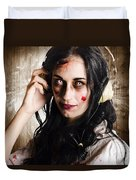 Hard Rock Zombie Listening To Death Metal Music Duvet Cover