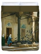Harem Women Feeding Pigeons In A Courtyard Duvet Cover by Jean Leon Gerome