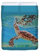 Green Turtle Duvet Cover