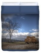 Hay Bales On A Wagon Duvet Cover