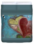 Heart Shape Painted On A Wall, Safed Duvet Cover