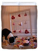 Hearts On The Line Duvet Cover
