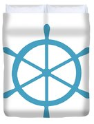 Helm In White And Turquoise Blue Duvet Cover