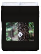 Hiking Trail Sign On The Forest Paths Duvet Cover