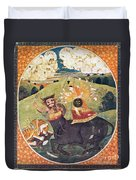 Hindu Goddess Durga Fights Mahishasur Duvet Cover