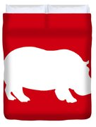 Hippo In Red And White Duvet Cover