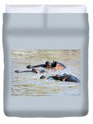 Hippopotamus Group In River. Serengeti. Tanzania Duvet Cover