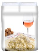 Homemade Cheese Wine And Walnuts Duvet Cover