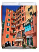 homes and promenade in Camogli Duvet Cover