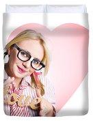 Hopeless Romantic Girl Showing Signs Of Love Duvet Cover
