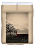 Horse Barn In Red  Duvet Cover by Garren Zanker