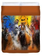 Horse Racing Abstract  Duvet Cover