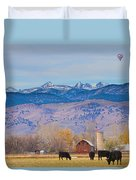 Hot Air Balloon Rocky Mountain County View Duvet Cover
